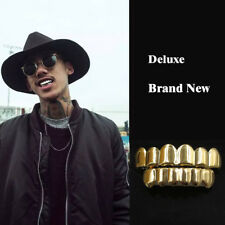 24K Gold Plated Hip Hop Teeth Grillz Top & Bottom Grill Set *Brand New*