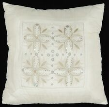 """Raw Silk? Decorative Throw Pillow Beaded Embroidered Sequins 15"""" Ivory Color"""