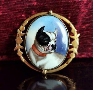 Antique Victorian enamel bulldog brooch