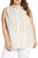 Lucky Brand Women's Plus Size 1X Sleeveless Stripe Button Front Blouse Shirt Top