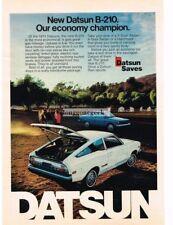 1974 Datsun B-210 White Hatrchback Vintage Print Ad