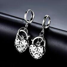 Women Quality White Gold Filled Vintage Padlock Design Dangle Chandelier Earring