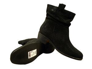Womens Black Suede Ankle Boots Low Block Heel Slouch Size 7 to 7.5 NEXT RRP £55