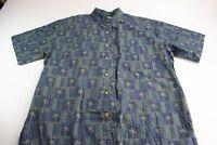 Cooke Street Honolulu Green Blue Palm Tree Pocket CAMP SHIRT Large L