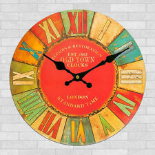 Large Vintage Rustic Wooden Wall Clock Kitchen Home Antique Shabby Chic Retro
