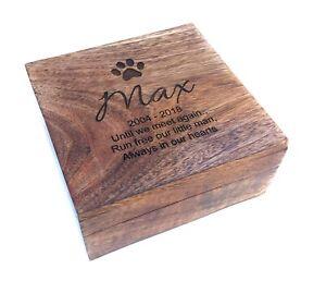 Personalised Pet Memorial Ashes Pet Urn Cremation Wooden Casket Dog Cat Hamster