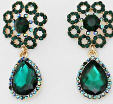 "2"" Green Emerald Gold Long Austrian Crystal Pageant Bridal Dangle Earrings"