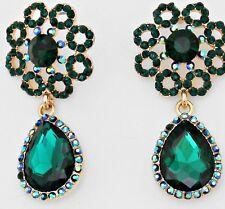 "2"" Green Emerald Gold Long Austrian Crystal Pageant Bridal Dangle Earrings"