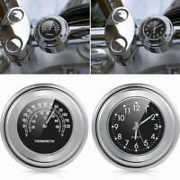 """7/8"""" 1"""" Motorcycle Handlebar Mount Watch Black Dial Clock & Thermometer Temp NEW"""