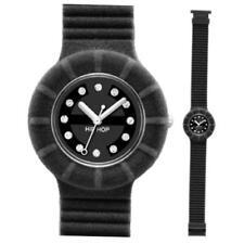 Italian Hip Hop Black Velvet Watch With Swarovski Crystals - HWU0134