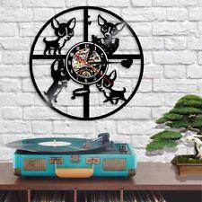 Wall Clock Chihuahua Dog Silhouette LED Backlight Modern Vinyl Record Home Decor