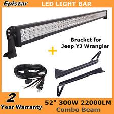 "52"" 300W LED Combo Light Bar+ Mounting Bracket for Jeep Wrangler YJ + Wiring Kit"