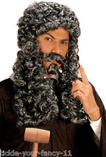 Men's Lady Grey Parliament Judge French King Wig Tash Goatee Costume Fancy Dress