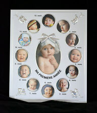 French first year baby photo frame silver plated 12 months (refab5bte43)
