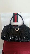 Authentic Gucci Ctossbody Shoulder Black Patent Leather Handbag