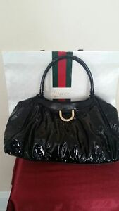 Authentic Gucci Ctossbody Shoulder Black Patent Leather Handbag