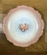 """Rare Antique French Limoges Porcelain 8"""" Bowl Cherubs Angels Pink Gold France"""