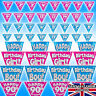 Birthday Banner Bunting Age 1 2 3 21 30 40 50 60 65 70 90 Pink Blue Holographic