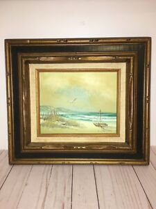 C.Melton Oil Painting On Canvas Seascape 17.5 Inch x 15.5 Inch.