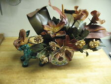 DONKEY & CART TV LIGHT w/  RESIN  FLOWERS  ALA MAJOLICA  VINTAGE ORIGINAL LOVELY