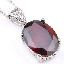 European Oval Shaped Fire Red Garnet Gems Platinum Plated Necklaces Pendants