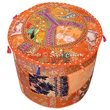 """Indian Round Pouf Cover Patchwork Bohemian Cloth Ottoman Embroidered 22"""" Orange"""