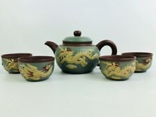 Chinese Teapot w/ 4 Cups Yixing Zisha Purple Green Clay Carved Dragon & Phoenix