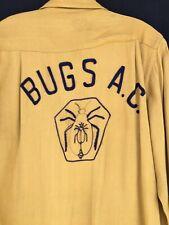 Vintage Men's 40s 50s Bugs Ac Auto Car Club Embroidered Button Gabardine Shirt M