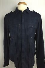7 For All Mankind Men's Blue/Black Cotton Checked Flannel Shirt Jacket Size M E1