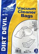 Dirt devil ELECTRUEPART BAG 115 TYPE G HANDYZIP DD150 DD150Z DD250 DD500 DD550