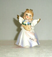 Vintage LEFTON May Angel Holds Flowers Gold Trim