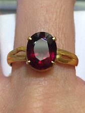 14k Solid Yellow Gold Genuine Garnet Ring.G~3ct. Size7.5.Gold 2.5gr.Reg$750