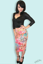 Regular Size Floral Knee-Length Straight, Pencil Skirts for Women