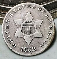 1852 Three Cent Silver Piece Trime 3c Type 1 High Grade Choice US Coin CC6565