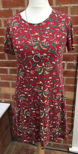 Ladies Fat Face Size 8-10 Red Floral Dress Oversize Summer Stretch Immaculate L5