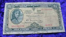 Irish 1972 One Pound Banknote Lady Lavery £1 Note Old Vintage Ireland A Series