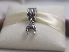 New Retired w/Box Pandora Lucky Horse Shoe Dangle Charm #790259 Equestrian Luck