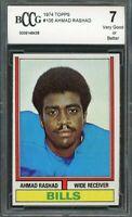 1974 topps #105 AHMAD RASHAD buffalo bills rookie card BGS BCCG 7
