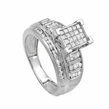 Christmas Special 1 Carat Sterling Silver Princess,Round Baguette Diamond Ring 7