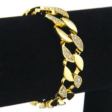 Men's Stainless Steel 8'' Gold Plated Crystal Cuban Curb Chain Bracelet Bangles