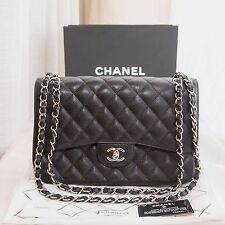 229afdcfa8a2 VERIFIED Auth Chanel Classic 2.55 Quilted Black Caviar Jumbo Double Flap  Bag SHW