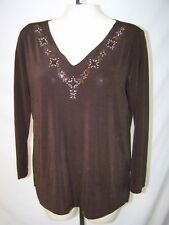 Carolyn Strauss Medium 8 10 Petite PM Womens Size Brown Long Sleeve V-Neck Top