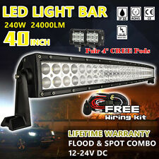 """40 inch Led Work Light Bar + 2x 4"""" CREE Pods Driving Jeep Truck Off Road SUV ATV"""