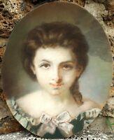 Beau Pastel XIXe Portrait de Jeune Femme Encadré