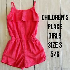 CHILDREN'S PLACE Girls Size Small 5/6 Bright Pink Lace Shorts Romper - EUC!