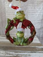 Vintage frog wreath toad Santa Hat Xmas holiday hanging tree ornament
