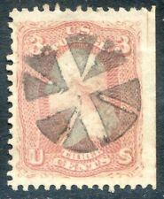 U.S. Stamps, Scott #65, Used, Rose, Fancy Cancel, Value: $63*.  [0842]