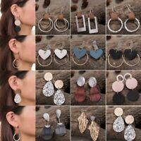 Trendy Geometric Women Earrings Circle Leather Ear Stud Hook Dangle Drop Party