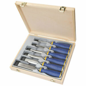 Irwin 6 Piece Professional Wood Chisel Set - Hardened Blades + Wooden Carry Box
