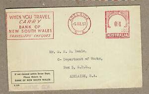 Australia 1957 Bank NSW Meter Cover PTPO Slogan